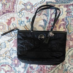 Coach quilted black tote bag.